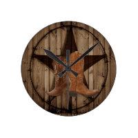 Barn Wood Texas Star western country cowboy boots Round Clock (<em>$29.30</em>)