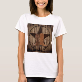 Barn Wood Texas Star western country cowboy boots T-Shirt
