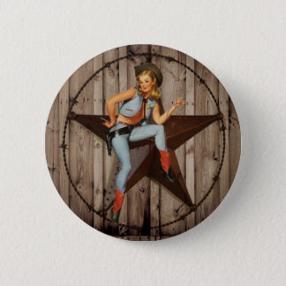 Barn Wood Texas Star western country Cowgirl Button