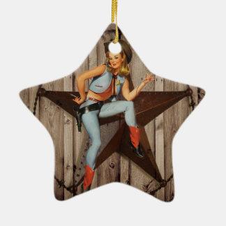 Barn Wood Texas Star western country Cowgirl Ceramic Ornament
