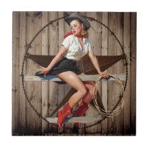 Barn Wood Texas Star western country Cowgirl Ceramic Tile