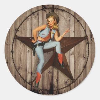 Barn Wood Texas Star western country Cowgirl Classic Round Sticker