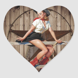Barn Wood Texas Star western country Cowgirl Heart Sticker