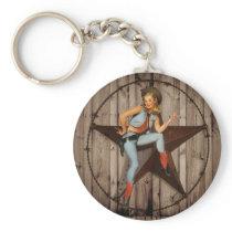 Barn Wood Texas Star western country Cowgirl Keychain