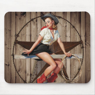 Barn Wood Texas Star western country Cowgirl Mouse Pad
