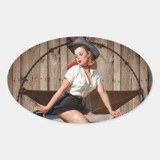 Barn Wood Texas Star western country Cowgirl Oval Sticker