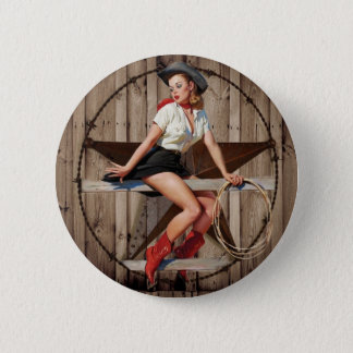 Barn Wood Texas Star western country Cowgirl Pinback Button
