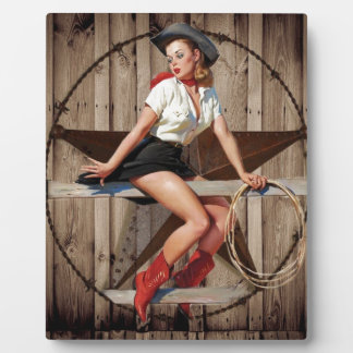 Barn Wood Texas Star western country Cowgirl Plaque