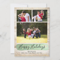 Barn Wood Three Photo Holiday Card, Green and Gold