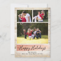 Barn Wood Three Photo Holiday Card, Rose Gold