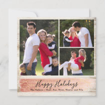 Barn Wood Three Photo Holiday Card, Rosegold