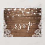 "Barn Wood Twinkle Lights Lace Rustic Wedding RSVP Invitation Postcard<br><div class=""desc"">Create your own RSVP Card with this &quot;Barn Wood Twinkle Lights Lace Rustic RSVP Postcard&quot; template to match your wedding style, colors and theme. It&#39;s easy to customize it to be uniquely yours! (1) For further customization, please click the &quot;Customize it&quot; button and use our design tool to modify this...</div>"