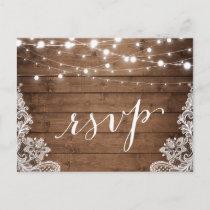 Barn Wood Twinkle Lights Lace Rustic Wedding RSVP Invitation Postcard