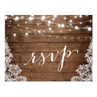 Barn Wood Twinkle Lights Lace Rustic Wedding RSVP Postcard