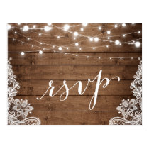 Barn Wood Twinkle Lights Lace Rustic Wedding RSVP Postcard