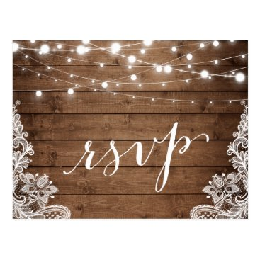 CardHunter Barn Wood Twinkle Lights Lace Rustic Wedding RSVP Postcard