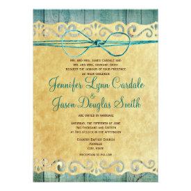 Barn Wood Vintage Paper Teal Wedding Invitation Custom Announcements
