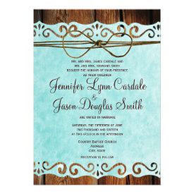 Barn Wood Vintage Paper Teal Wedding Invitations Personalized Announcement