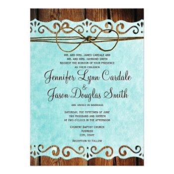 Barn Wood Vintage Paper Teal Wedding Invitations