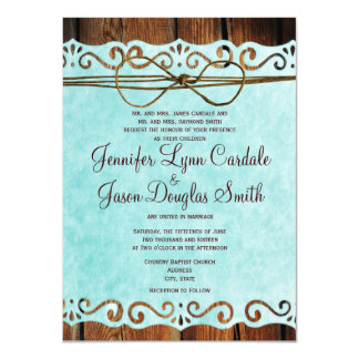 Barn Wood Vintage Paper Teal Wedding Invitations