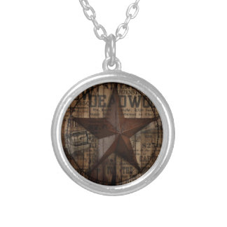 Barn Wood western country Texas Lone Star Silver Plated Necklace