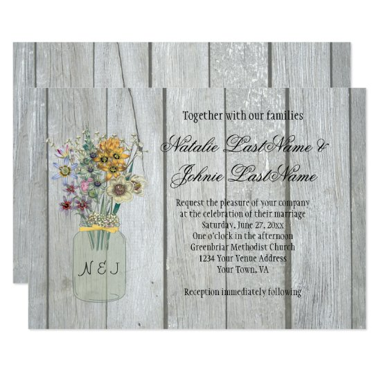 Barn Wood Wildflowers Mason Jar Ribbon Wedding Invitation
