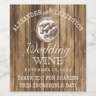 Barn Wood With Horses Rustic Country Ranch Wedding Wine Label