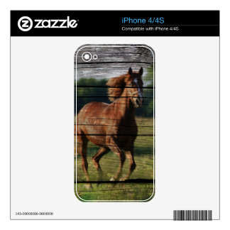 Barn Woodgrain Country Ranch Galloping Brown Horse iPhone 4S Skins