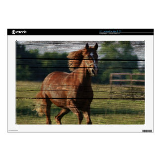 "Barn Woodgrain Country Ranch Galloping Brown Horse Skins For 17"" Laptops"