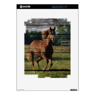 Barn Woodgrain Country Ranch Galloping Brown Horse Skins For iPad 2