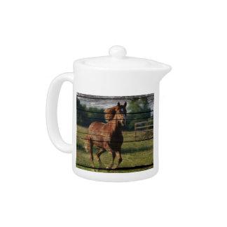 Barn Woodgrain Country Ranch Galloping Brown Horse Teapot