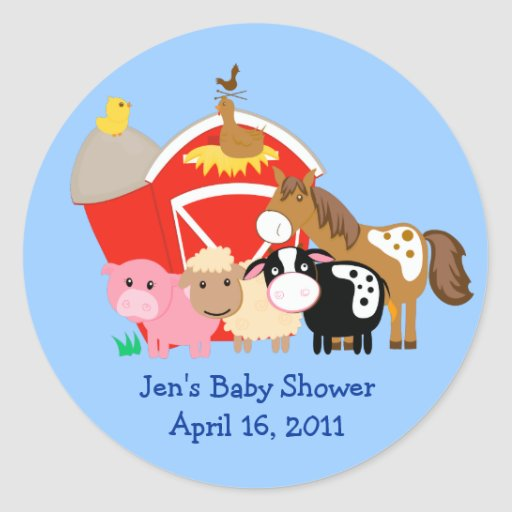 BARN YARD Baby Shower or Birthday Favor Stickers