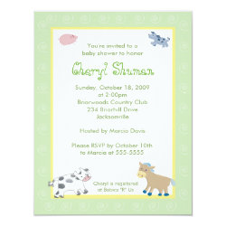 Barn Yard Farm Animals Green Swirl Baby Shower Card