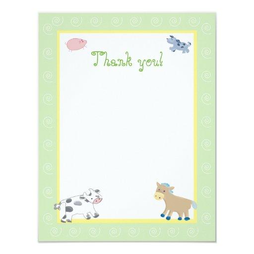 "Barn Yard Farm Animals Green Swirl Thank you 4.25"" X 5.5"" Invitation Card"