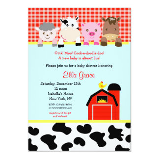 Barn yard Farm Barnyard Baby Shower Invitations
