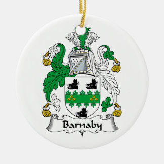Barnaby Family Crest Double-Sided Ceramic Round Christmas Ornament