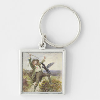 Barnaby Rudge and the Raven Grip Silver-Colored Square Keychain