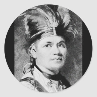 Barnacla - José/jefe indio del Mohawk Etiqueta Redonda