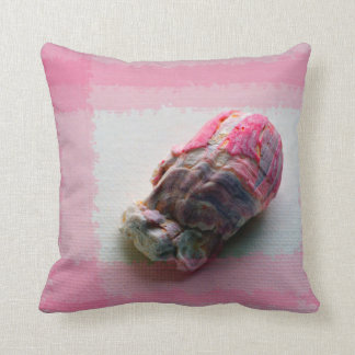 barnacle on canvas pink shell beach image throw pillow