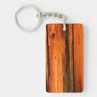 barnboard de madera resistido llavero rectangular acrílico a doble cara