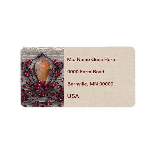 Barnboards Rusted Heart Custom Address Label