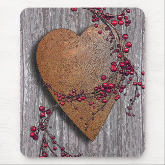 Barnboards Rusted Heart Mouse Pad