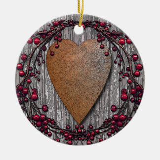 Barnboards Rusted Heart Christmas Tree Ornaments