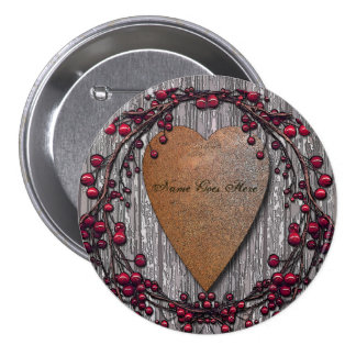 Barnboards Rusted Heart Pinback Button