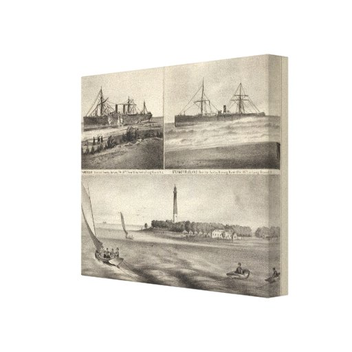 Barnegat Inlet Steamship Amerique Gallery Wrapped Canvas