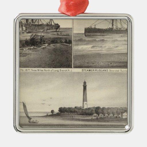 Barnegat Inlet Steamship Amerique Ornaments