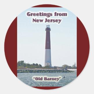 Barnegat Lighthouse NJ Greetings New Jersey Classic Round Sticker