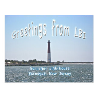 Barnegat Lighthouse (Old Barney) Greetings LBI Postcard