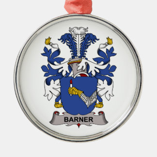 Barner Family Crest Round Metal Christmas Ornament