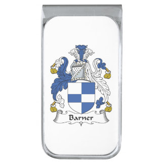 Barner Family Crest Silver Finish Money Clip